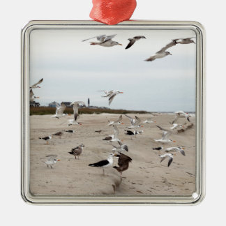 Seagulls Flying, Standing and Eating on the Beach Metal Ornament