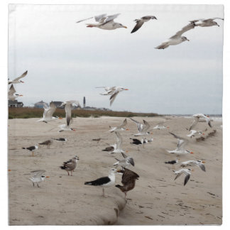 Seagulls Flying, Standing and Eating on the Beach Napkin