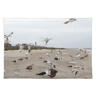 Seagulls Flying, Standing and Eating on the Beach Placemat