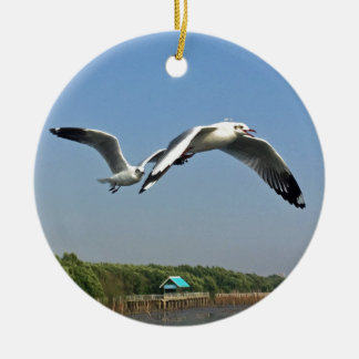 Seagulls in Flight Ceramic Ornament