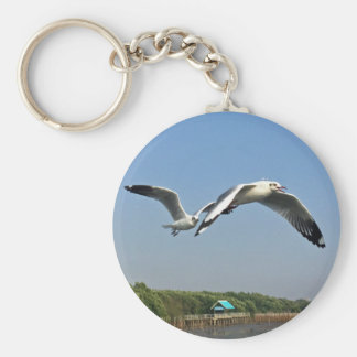 Seagulls in Flight Key Ring