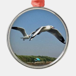 Seagulls in Flight Metal Ornament