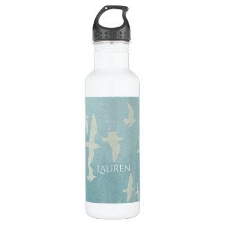 Seagulls in flight on teal blue, flying birds 710 ml water bottle