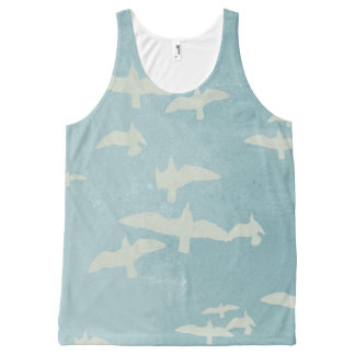 Seagulls in flight on teal blue, flying birds All-Over print singlet