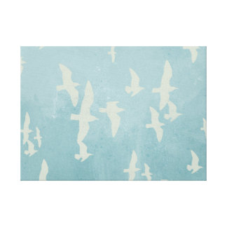 Seagulls in flight on teal blue, flying birds canvas print