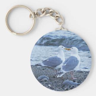 Seagulls Kissing on the Beach Photo Key Ring