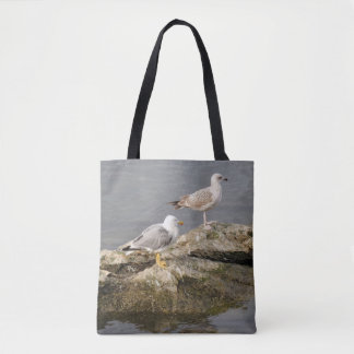 Seagulls on Rock Tote Bag