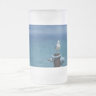 Seagulls Paradise At Mackinac Frosted Glass Beer Mug