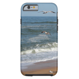 Seagulls Soaring over Waves Rolling onto a Beach Tough iPhone 6 Case