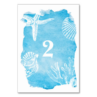 Seahells on Watercolor Wedding Table Number