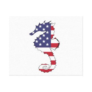 """Seahorse """"American Flag"""" Canvas Print"""