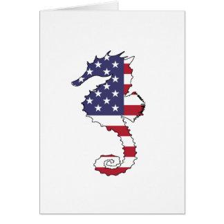 """Seahorse """"American Flag"""" Card"""