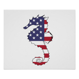 """Seahorse """"American Flag"""" Poster"""