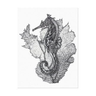 Seahorse and Coral Canvas Print
