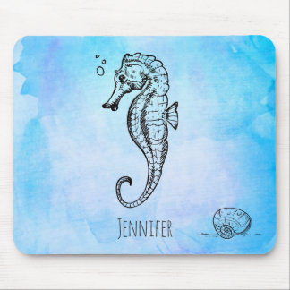 Seahorse and Seashell on Blue Watercolor Custom Mouse Pad