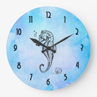 Seahorse and Seashell on Blue Watercolor Large Clock