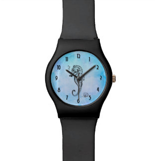 Seahorse and Seashell on Blue Watercolor Watch