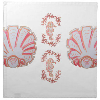 Seahorse and Shell Cloth Dinner Napkins