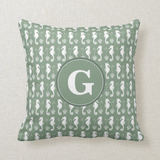 Seahorse and Shell Pattern with Custom Monogram Cushion