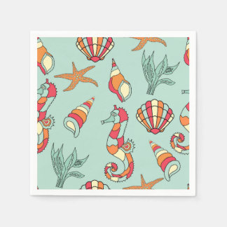 Seahorse and shells paper napkins