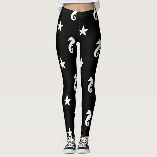 Seahorse and Starfish Black and White Leggings