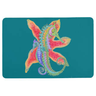 seahorse and starfish floor mat