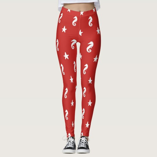 Seahorse and Starfish Red and White Leggings
