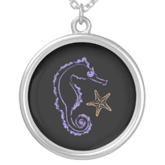 Seahorse and Starfish Silver Plated Necklace
