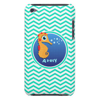 Seahorse Aqua Green Chevron iPod Case-Mate Cases