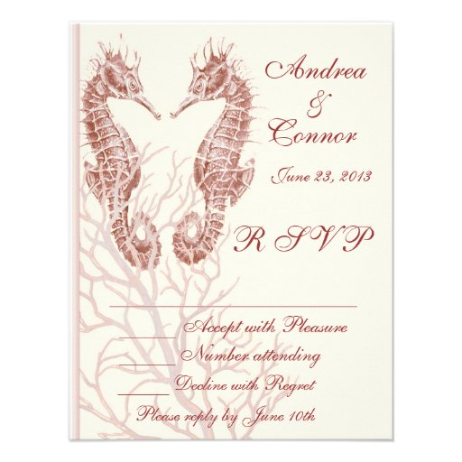 Seahorse beach brown wedding RSVP Personalized Invite