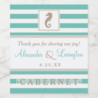 Seahorse Beach Wedding With Stripes Choose Colors Wine Label