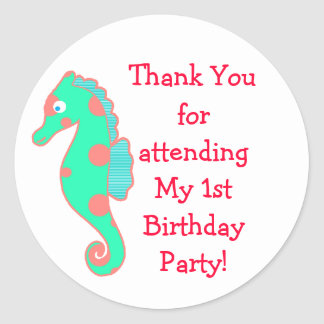 Seahorse Birthday Party Favor Stickers