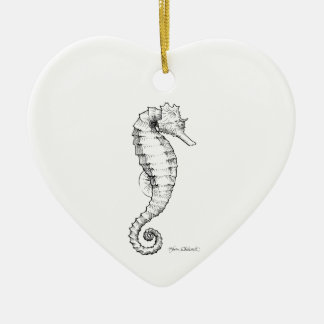 Seahorse Black and White Drawing Ceramic Heart Decoration