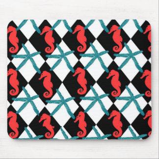 Seahorse Black Teal Textile Mouse Pad