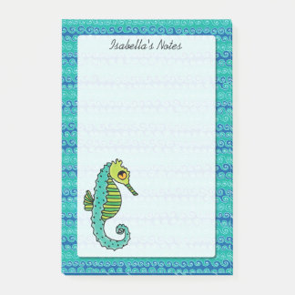 Seahorse Blue and Green Personalized 4 x 6 Post-it Notes