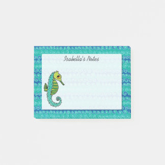 Seahorse Blue and Green Personalized Post-it Notes