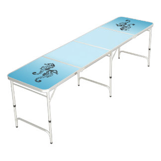 Seahorse Blue Beer Pong Table