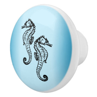 Seahorse Blue Ceramic Knob