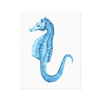 Seahorse blue coastal nautical watercolor canvas print