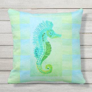 Seahorse Blue Green Pattern Marine Throw Pillow