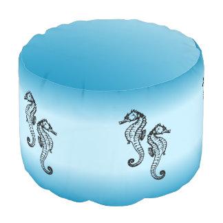 Seahorse Blue Pouf