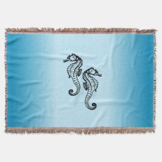 Seahorse Blue Throw Blanket