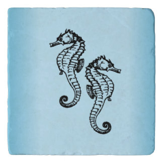 Seahorse Blue Trivet