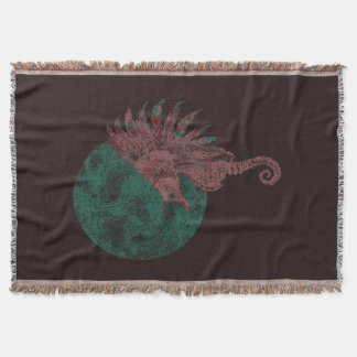seahorse by the moon throw blanket