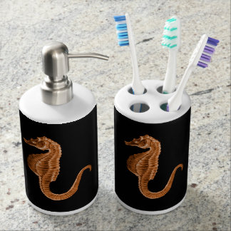 Seahorse coastal nautical ocean beach black bathroom set