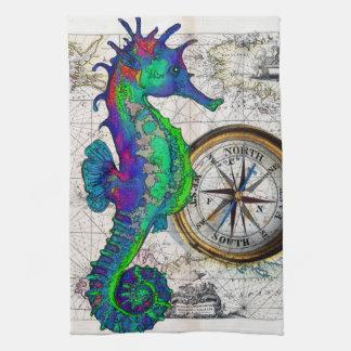 Seahorse Compass Tea Towel