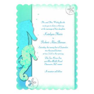 Seahorse Couple Wedding Parents Inviting 13 Cm X 18 Cm Invitation Card
