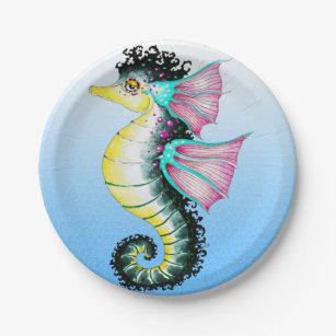 Seahorse Cute Watercolor Ink Art Paper Plate  sc 1 st  Zazzle & Teal Watercolor Plates | Zazzle.com.au
