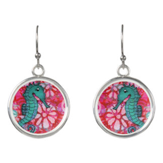 Seahorse Earrings Red and Teal Seahorses