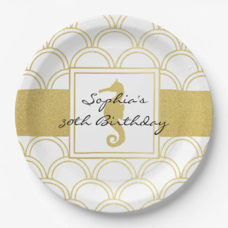 Seahorse Faux Gold Nautical Modern Birthday Party Paper Plate